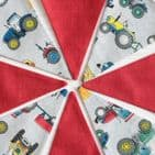 Farm Tractors Mini Cotton Bunting (Price inc P & P) with 14 Flags